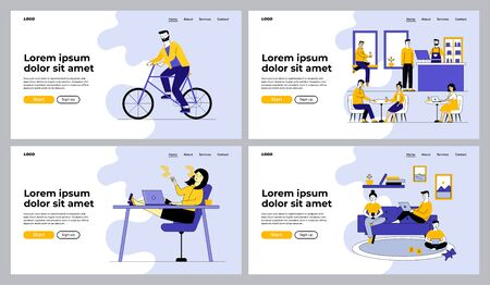 Lifestyle, outdoor activities, unhealthy habits set. Family with gadgets, riding bike, smoking, cafe. Flat vector illustrations. Leisure, health concept for banner, website design or landing web page