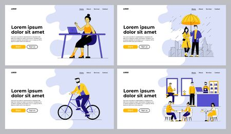 Leisure and activities set. People walking outdoors, riding bike, visiting cafe. Flat vector illustrations. Lifestyle, communication concept for banner, website design or landing web page