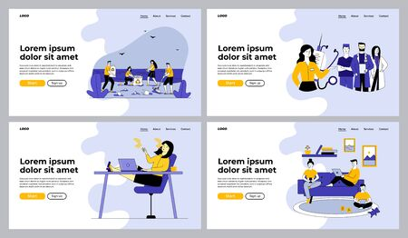 Lifestyle and healthcare set. People collecting garbage, smoking at work, medical team. Flat vector illustrations. Voluntary, unhealthy habits concept for banner, website design or landing web page Ilustracje wektorowe