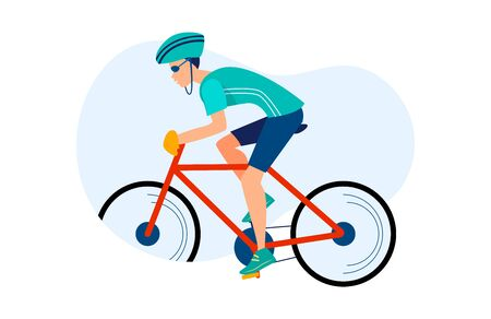 Athletic man cycling outdoors. Athlete riding bike, hardhat, race flat vector illustration. Sport, activity, lifestyle concept for banner, website design or landing web page Stock Illustratie