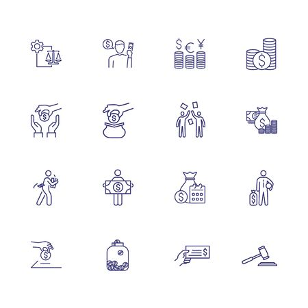 Income line icon set. Salary, investment, currency. Finance concept. Can be used for topics like stake holding, loan, foreign exchange