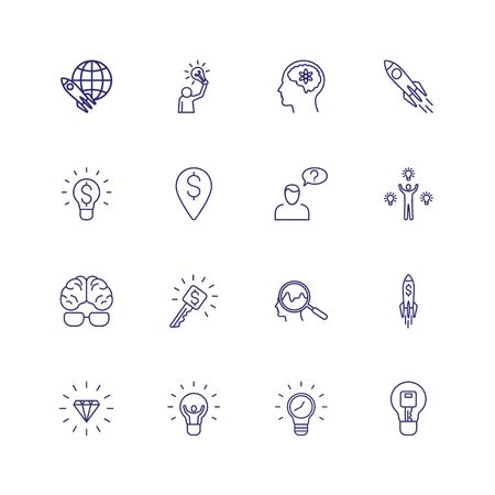 Startup line icon set. New idea, brain, problem solving. Business concept. Can be used for topics like management, key solution, money making