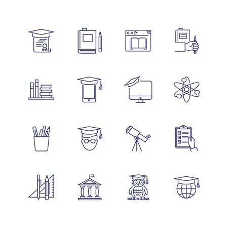 College line icon set. Book, owl, university. Education concept. Can be used for topics like graduation, studying, degree