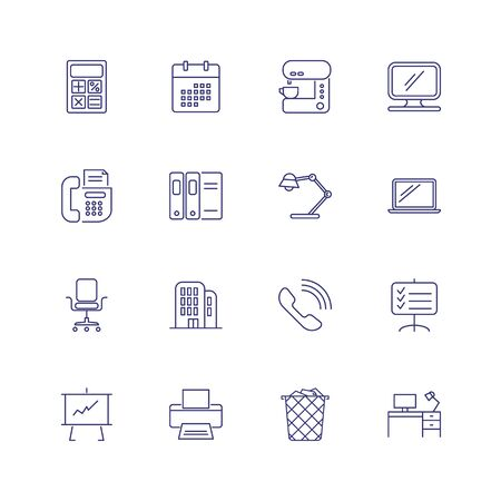 Office equipment line icon set. Calculator, monitor, computer. Work tools concept. Can be used for topics like stationery, facilities, workplace