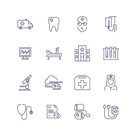 Medical help line icon set. Doctor, hospital, stethoscope. Medicine concept. Can be used for topics like ambulance, emergency, health care Foto de archivo