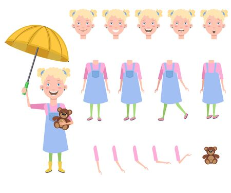 Happy little girl with teddy bear under umbrella character set with different poses, emotions, gestures. Parts of body, toy bear. Can be used for topics like weather, childhood, kid