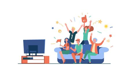 Football fans watching match on TV. Friends sitting on couch and celebrating soccer team winning or goal. Vector illustration for championship, leisure at home, sport game supporter concept