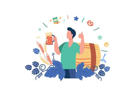 Happy man drinking cold beer with snacks flat vector illustration. Young guy holding big glass with alcohol and cheers. Drink and weekend concept
