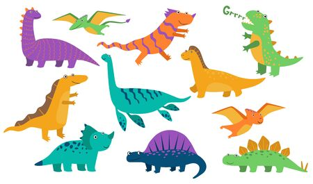 Cute baby dinos set. Funny roaring dinosaurs, cartoon stegosaurus, comic creatures. Vector illustration for prehistoric animals, reptiles, ancient wildlife concept Vectores