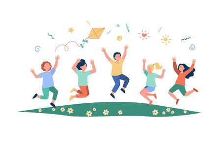Happy children playing in summer park flat vector illustration. Cartoon cute boys and girls jumping with kite on meadow. Kindergarten and holiday concept