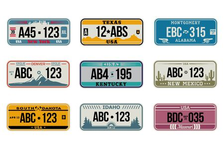 USA car number plates set. American license, retro design, Idaho, New Mexico, Missouri, Denver. Flat vector illustrations for vehicle driving, registration signs, automobile identity, travel concept Vetores
