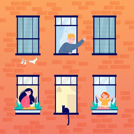 Daily life in open windows. Neighbor, building, home flat illustration. Lifestyle and neighborhood concept for banner, website design or landing web page 벡터 (일러스트)