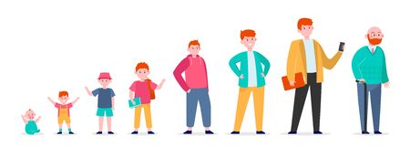 Red-haired man in different age. Teenager, infancy, father flat vector illustration. Growth cycle and generation concept for banner, website design or landing web page Vettoriali