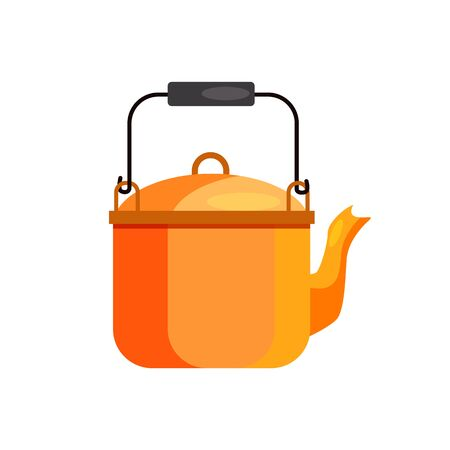 Camping kettle. Pot, water boiling, tea. Camping concept. illustration can be used for topics like campsite, campfire, expedition, trekking