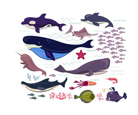 Underwater fish and animals flat icon set. Cartoon cute dolphin, starfish, whale, shrimp and shark isolated vector illustration collection. Marine life and ocean concept