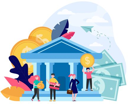 Business people with money and credit card standing near bank building. Queue of customers visiting bank office. Flat vector illustration for finance, payment, transaction, service concepts