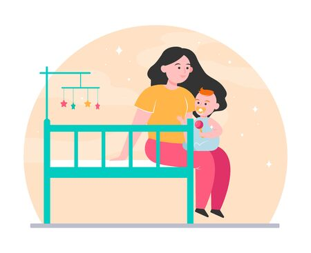 New mom holding and soothing baby. Crib, toddler, playing with child flat vector illustration. Childhood, childcare, parenthood concept for banner, website design or landing web page