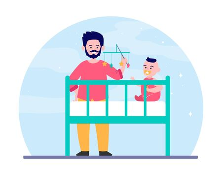 New dad playing with baby in crib. Rattle toy, soothing child for sleeping flat  illustration. Childhood, childcare, parenthood concept for banner, website design or landing web page