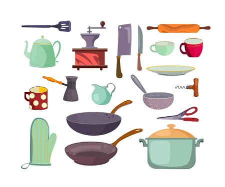 Kitchen utensils and tools flat icon set. Cartoon cups, saucepans, pots, cutlery and teapot isolated vector illustration collection. Cooking and accessories concept Ilustracja