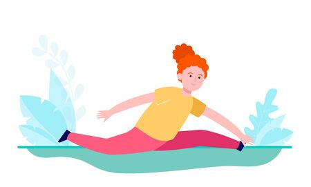 Young red-haired girl doing splits. Balance, yoga, flexibility flat vector illustration. Sport and active leisure concept for banner, website design or landing web page