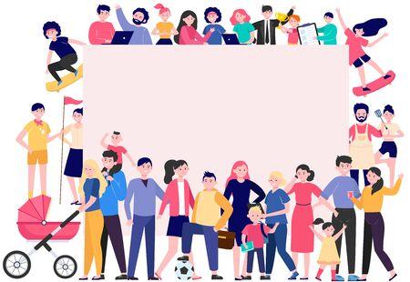 Multitud de gente feliz con ilustración de vector plano de cartel en blanco. Dibujos animados de hombres y mujeres multiculturales parados juntos. Concepto de comunidad, sociedad y población.