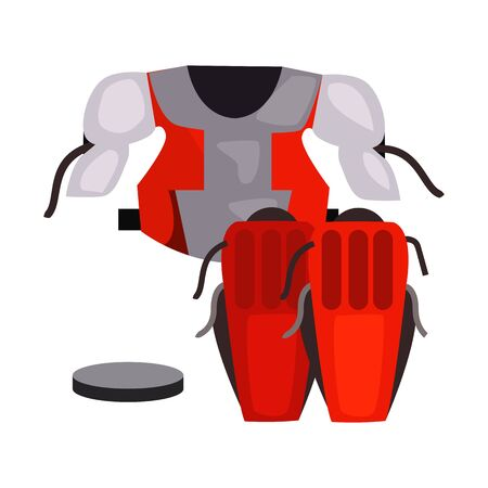 Goaltender chest protector and knee pads . Hockey player, sportswear, hockey kit. Ice hockey concept. illustration can be used for topics like sport, sports equipment, competition Stok Fotoğraf