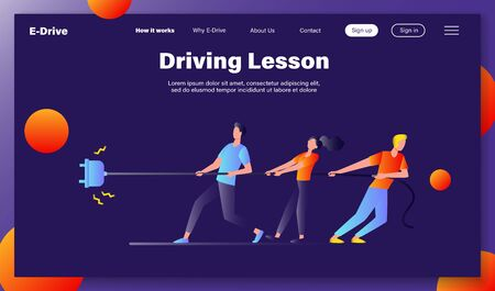 Groups of people pulling rope in tug of war play. Struggling team competing with each other. Vector illustration for game, contest, competition, confrontation concept Illusztráció