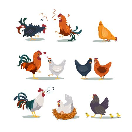 Various hens and roosters flat icon set. Cartoon Christmas or Easter chicken characters in different poses isolated vector illustration collection. Cute domestic birds, farm and poultry concept