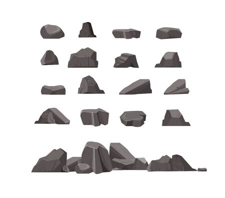 Rock stones flat icon set. Cartoon natural massive boulders, granite cliffs and cobbles isolated vector illustration collection. Mountains and landscape concept