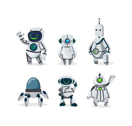 Cute robots flat icon set. Cartoon futuristic cyborg characters isolated vector illustration collection. Future and communication concept Illustration
