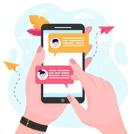 Hand holding mobile phone with online messages flat vector illustration. Modern smartphone screen with chat. Communication and conversation concept