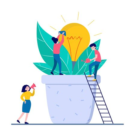People growing new idea isolated flat vector illustration. Cartoon tiny characters with big electricity bulb. Teamwork, creativity and business growth concept