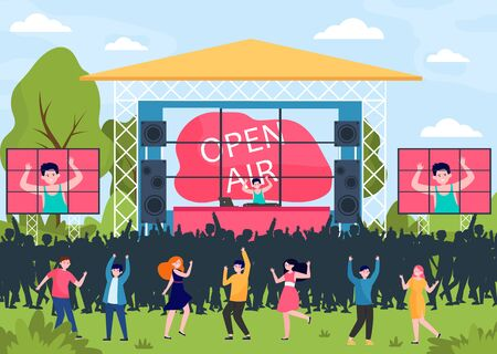 Cartoon people entertaining at open air festival flat vector illustration. Music performance, party or rock concert outdoors. Entertainment, park and weekend concept Illustration