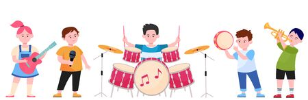 Cartoon children band flat vector illustration. Cute young artists, singers or musicians singing song and playing musical instruments. Party, music and performance concept 向量圖像