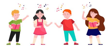 Cartoon children choir flat vector illustration. Cute kids singing song at music school, church or vocal group. Friendship, music and performance concept