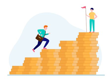 Man climbing on money bar chart. His colleague standing on top with flag flat vector illustration. Finance, success, leader concept for banner, website design or landing web page