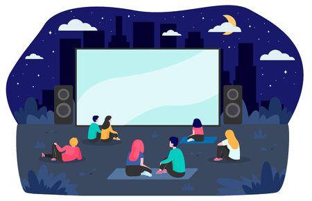 Young friends resting at backyard and watching movie flat vector illustration. Open air cinema at night. Entertainment, vacation and weekend concept Vettoriali