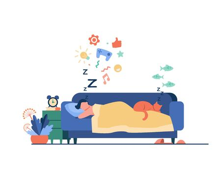 Young man sleeping on sofa with cat isolated flat vector illustration. Cartoon character dreaming under duvet at night. Nighttime and comfort concept