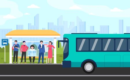 Cartoon passengers standing at bus stop flat vector illustration. Women and men waiting for public transport. Transportation, driving and conveyance concept