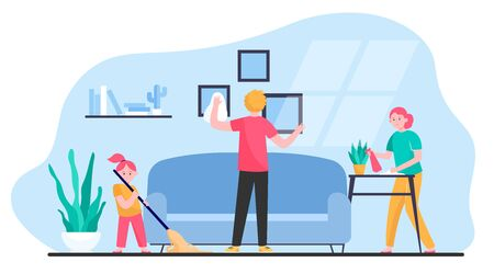 Happy family cleaning apartment flat vector illustration. Cartoon mother, father and daughter housekeeping together. Togetherness, flat, home and household concept