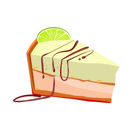 Slice of key lime cake with peanut illustration. Cake, sweet food, bakery. Dessert concept. illustration can be used for topics like food, confectionary, unhealthy eating