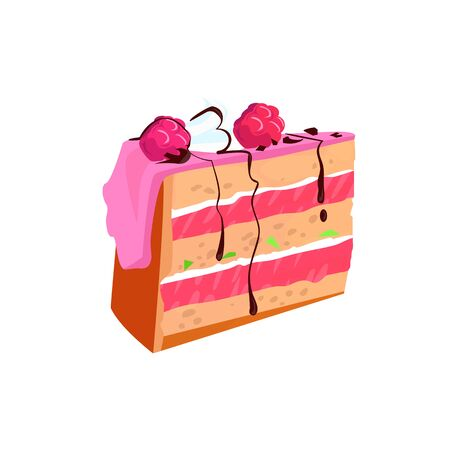 Piece of homemade raspberry cake illustration. Cake, sweet food, cafe menu. Dessert concept. illustration can be used for topics like food, unhealthy eating, cooking