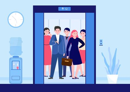 Different people lifting on elevator. Open door of office lifts with workers waiting moving inside cabin. Vector illustration for office hall, end of business, transportation concept Stock Illustratie