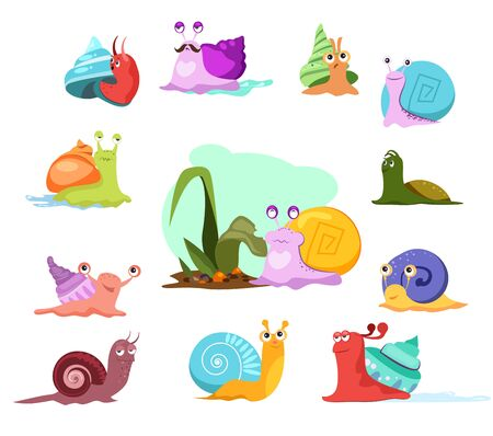 Multi-colored snails set. Cartoon mollusca collection. Can be used for topics like invertebrate, creature, sea