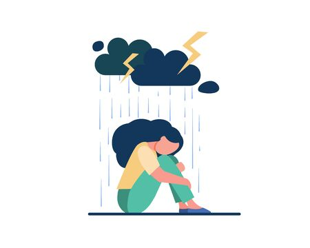 Young lonely girl sitting under storm cloud isolated flat vector illustration. Cartoon unhappy woman crying because of problems. Depression and mental disorder concept Vettoriali