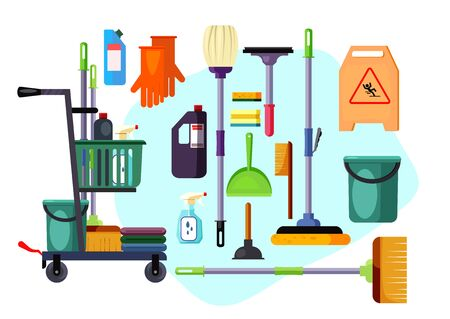 Set of cleaning supplies and tools. Brooms, sanitary, housework. Can be used for topics like cleanup, housekeeping, disinfection