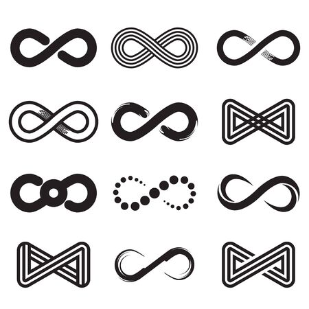 Different Mobius loop and infinity symbols set. Abstract endless signs, emblems and logos for design isolated vector illustration collection. Eternity and symbolism concept 向量圖像
