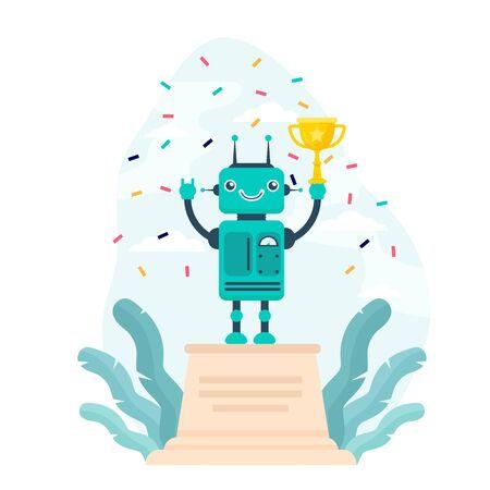 Robot winning golden cup. Award, celebration, cyborg flat vector illustration. Technology and contest concept for banner, website design or landing web page