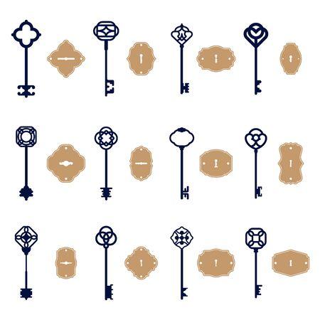Various vintage keys and keyholes set. Sketch of elegant decorative old and modern keyways isolated vector illustration collection. Decoration, secret and invitation concept 向量圖像
