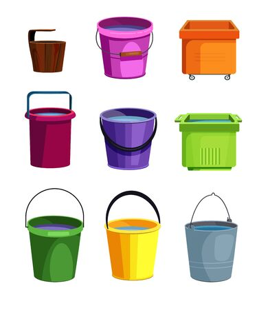 Colorful buckets set. Collection for cleaning service. Can be used for topics like housework, sanitary, washing floor
